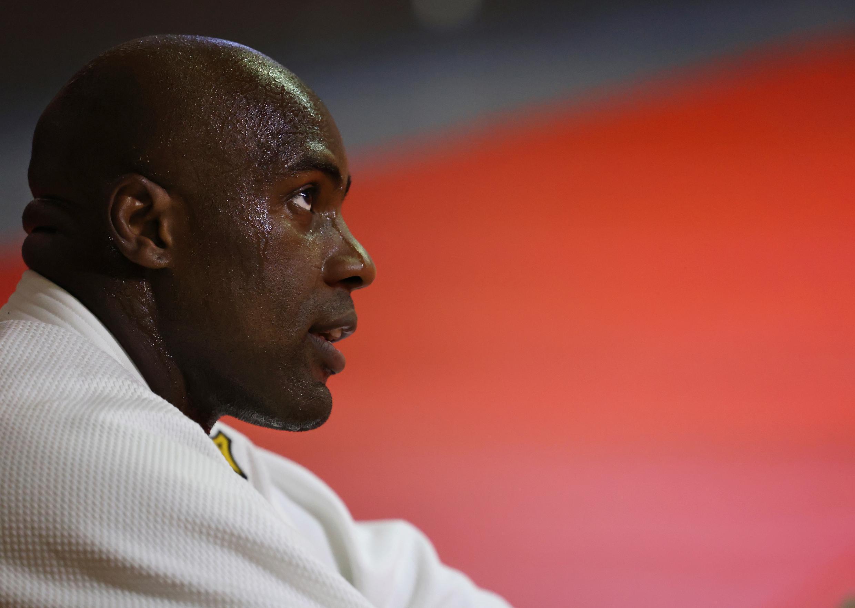 Teddy Riner lors d'un entraînement avec les judokas français qualifiés pour les JO, à Paris, le 22 juin 2021
