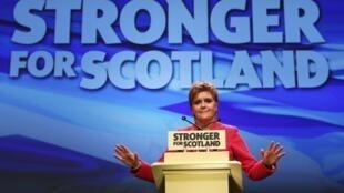 Nicola Sturgeon, Première ministre de l'Ecosse et chef de file du SNP, à Aberdeen, le 18 mars 2017.