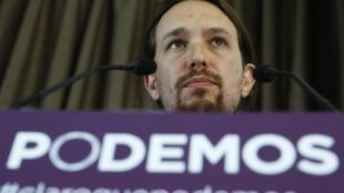 Pablo Iglesias, le fondateur de Podemos, lors d'une conférence de presse à Madrid, le 30 mai 2014.