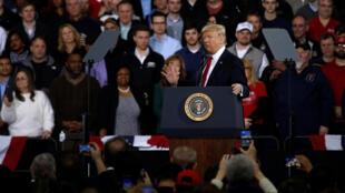 Discours du président américain Donald Trump,  le 15 mars 2017 à Ypsilanti, dans le Michigan.