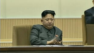 Lãnh tụ Bắc Triều Tiên Kim Jong Un trong buổi mít-tinh kỷ niệm hai năm ngày mất của Kim Jong Il, 17/12/2013.