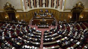 L'hémicycle  du Sénat, rue de Vaugirard à Paris.