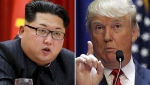 朝鮮領導人金正恩美國總統特朗普合成圖片