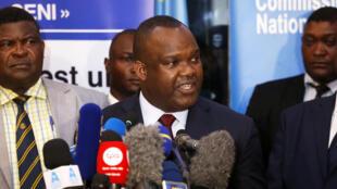 Le président de la Céni Corneille Nangaa et des membres de la Commission électorale, le 20 décembre 2018 à Kinshasa.