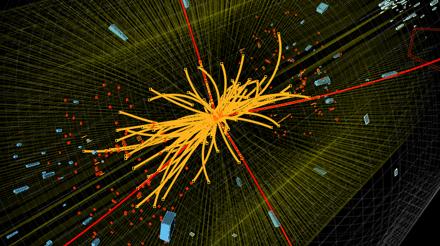 Colisão entre prótons produzida por acelerador gera partículas (em vermelho) com características muito próximas ao célebre 'Boson de Higgs'.