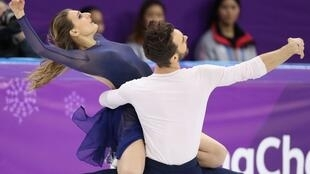 Gabriella Papadakis and Guillaume Cizeron of France perform on Tuesday