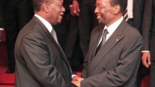 Côte d'Ivoire's Alassane Ouattara with Mali's interim president  Dioncounda Traoré