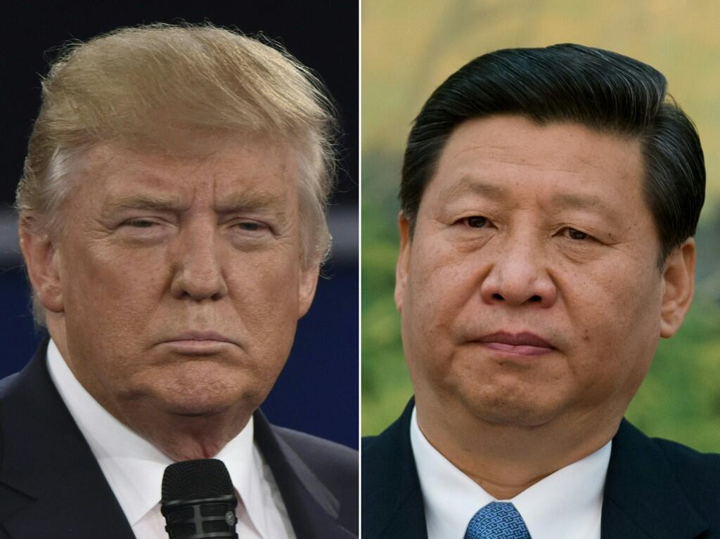 圖為美國總統特朗普與中國國家主席習近平拼圖照片