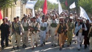 Milice privée à Bajaur dans les zones tribales du Pakistan.