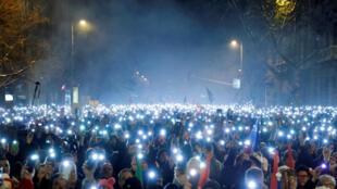 Manifestação em Budapeste contra o governo de Viktor Orban, 16/12/2018.
