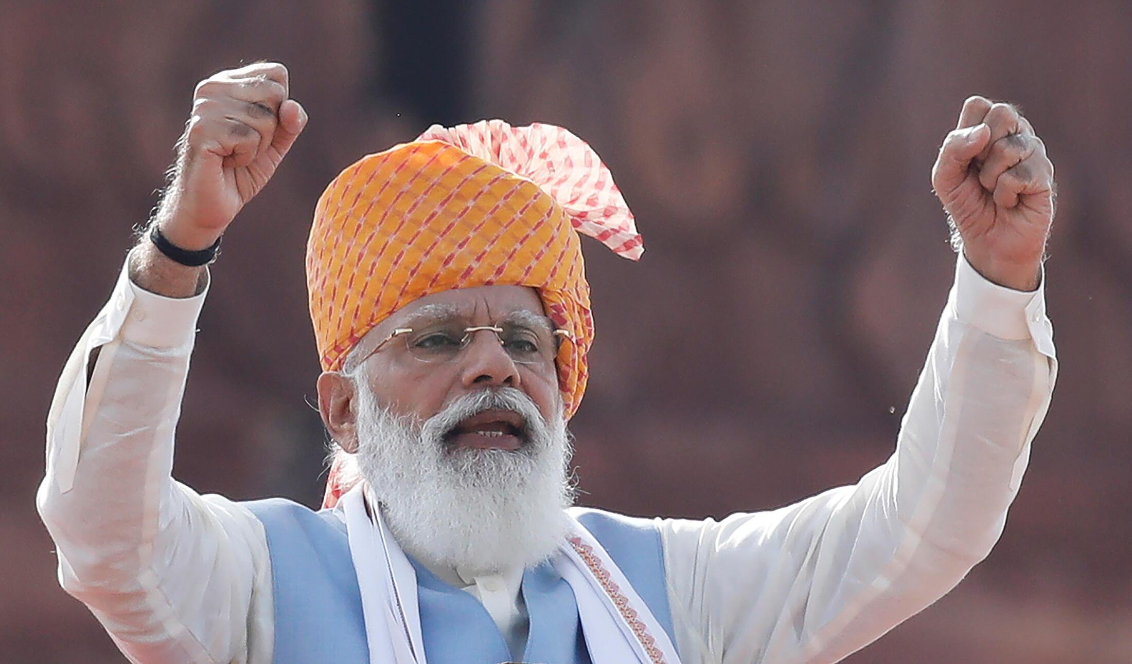 8月15日,印度总理莫迪参加印度独立日纪念活动