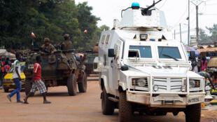 Patrouille de la Minusca à Bangui, le 14 septembre 2015.