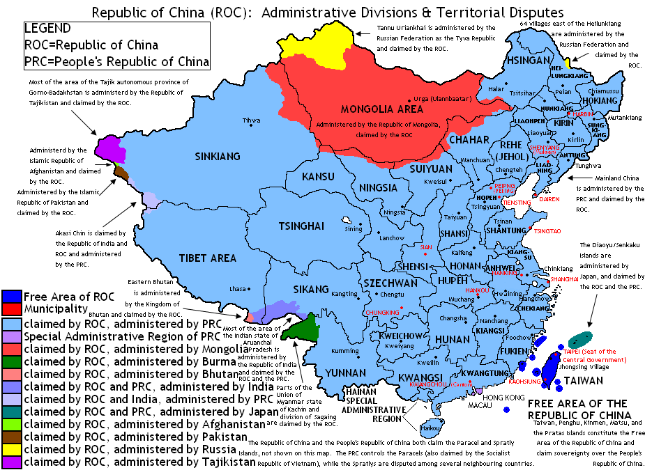 Taiwan's territorial claims include [Outer] Mongolia, and parts of Kazachstan and India.
