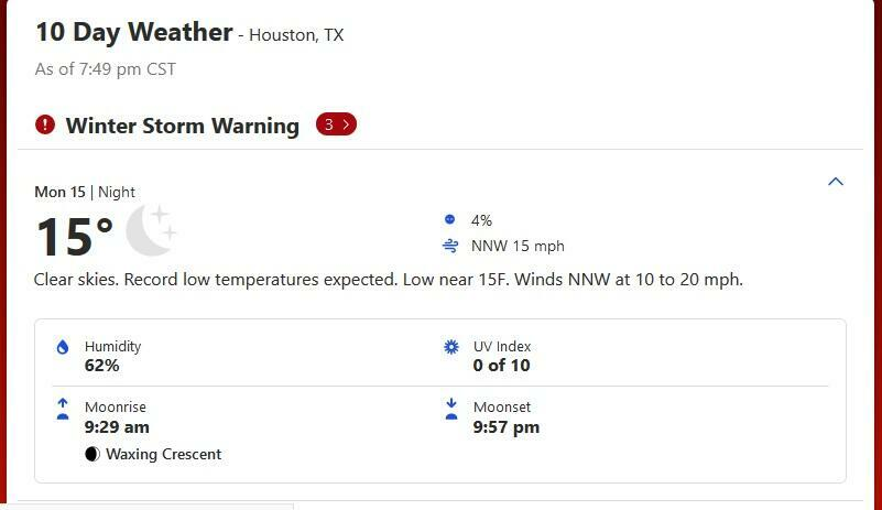 15° Fahrenheit, soit -9,4 degrés Celsius : c'est la température atteinte à Houston à 19h50 localement, lundi 15 février.