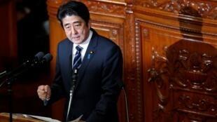 Discours de politique générale du Premier ministre Shinzo Abe au Parlement, à Tokyo, le 28 janvier 2013.
