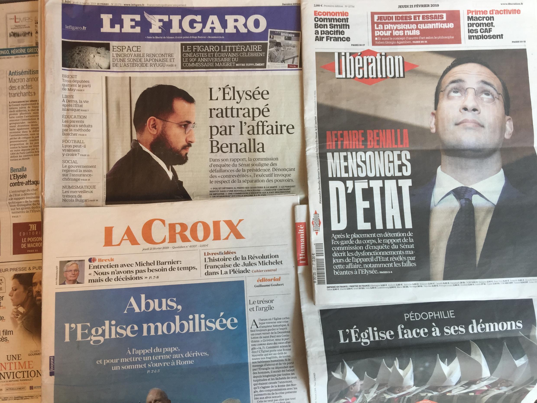 Jornais franceses de 21 de Fevereiro de 2019.