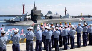 Tầu ngầm có tên lửa dẫn đường USS Michigan đến căn cứ Hải Quân Busan, Hàn Quốc, ngày 13/10/2017.