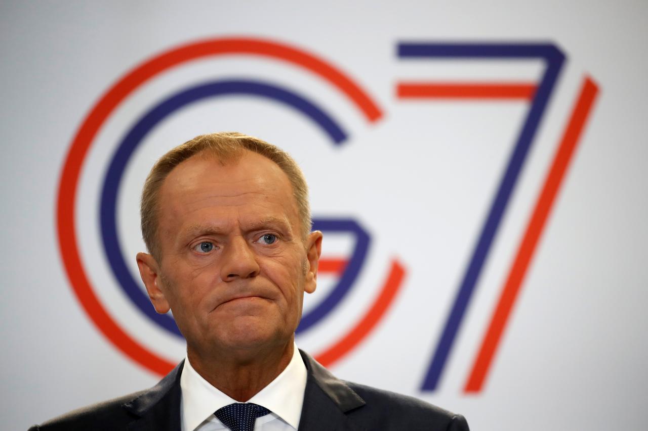 Shugaban majalisar kungiyar kasashen Turai EU, Donald Tusk, yayin jawabi a taron kasashen G7 da Faransa ke karbar bakunci a Biarritz. 24/8/2019.