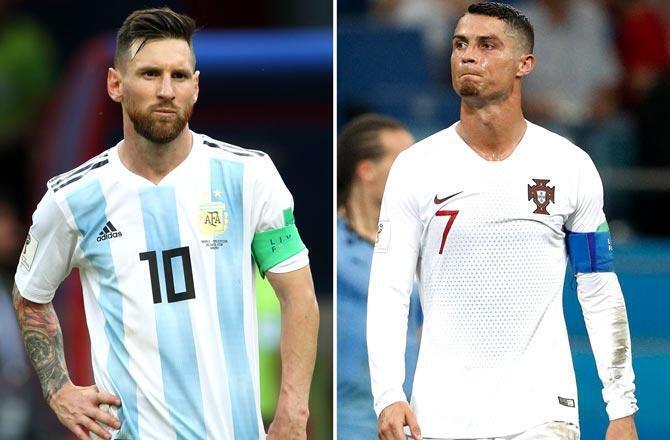 Lionel Messi na Argentina da abokin hamayyarsa Cristiano Ronaldo.