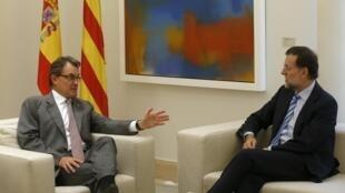 Le président de la Catalogne Artur Mas et le chef du gouvernement Mariano Rajoy. Madrid, le 20 septembre 2012.