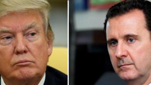 Shugaba Donald Trump na Amurka a hagu sai kuma shugaban Syria Bashar Assad a dama.