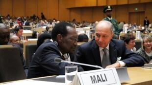 Le président par intérim du Mali, Diocounda Traoré, et le chef de la diplomatie française, Laurent Fabius, lors de la Conférence des donnateurs pour le Mali à Addis-Abeba, le 29 janvier 2013.