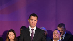 This file photo taken on March 4, 2015, shows United Kingdom Independence Party (UKIP) Migration spokesman Steven Woolfe addressing supporters and media personnel in central London.