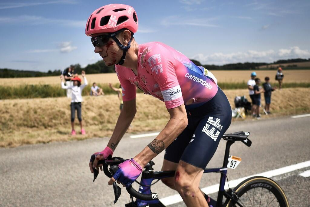 US Tejay Van Garderen after he fell during the seventh stage of the Tour de France between Belfort and Chalon-sur-Saone on 12 July 2019.