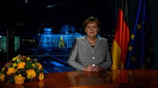 2018年12月30日德国总理默克尔在总理府录制其新年讲话。