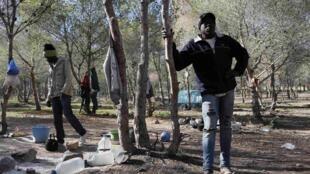 Des migrants africains dans leur campement clandestin, près de l'enclave de Melilla, le 27 mars 2014.