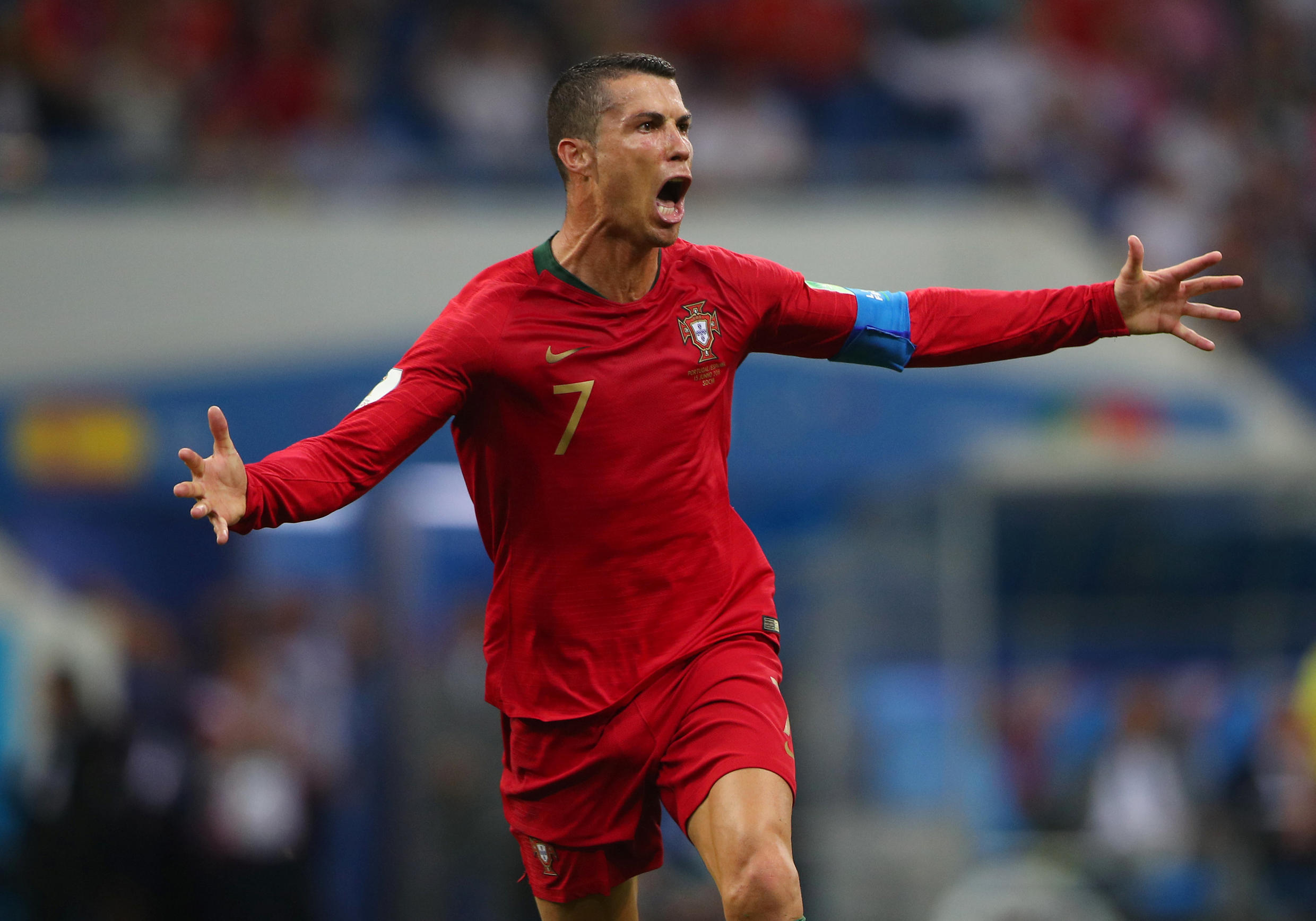 Cristiano Ronaldo after scoring Portugal's third goal against Spain on 15 June
