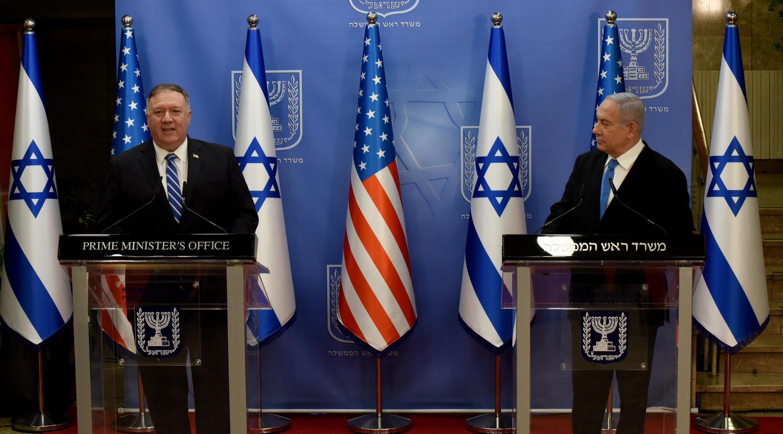 کنفرانس خبری مایک پومپئو، وزیر امور خارجه آمریکا و بنیامین نتانیاهو، نخست وزیر اسرائیل در اورشلیم. دوشنبه ۳ شهریور/ ۲۴ اوت ۲۰۲۰