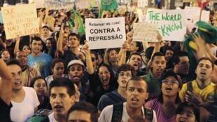 Manifestation à Sao Paulo, Brésil, le 18 juin 2013.