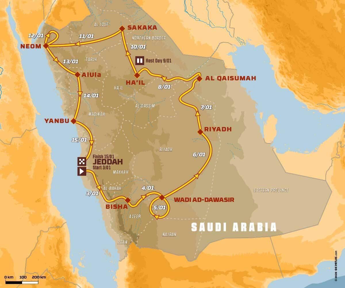 Recorrido del Dakar en Arabia Saudita del 3 al 15 de enero 2021.