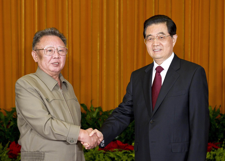 Rais wa China Hu Jintao na rais wa Korea Kim Jing