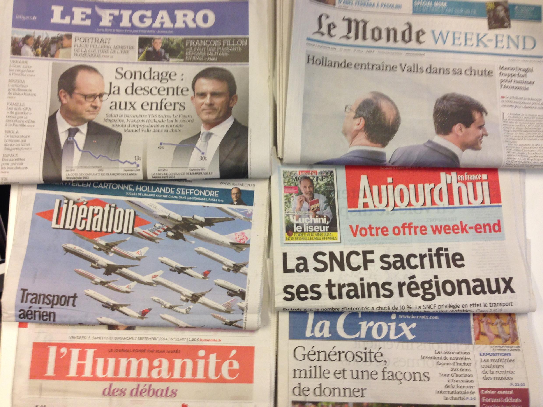 Primeiras páginas dos jornais franceses 6/09/2014