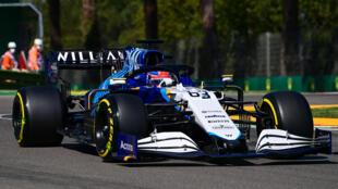La Williams du Britannique George Russell lors des essais du GP d'Emile-Romagne, le 16 avril 2021