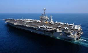 """سخنگوی ارتش آمریکا اعلام کرد که سپاه پاسداران ایران موشک هایی را در نزدیکی ناو هواپیمابر آمریکایی """"هری اس ترومن""""شلیک کرده است."""