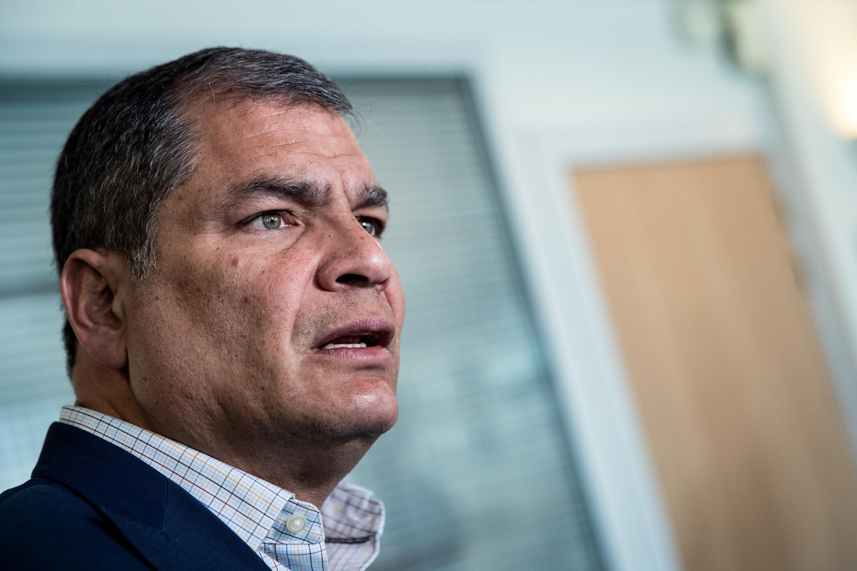 El expresidente de Ecuador Rafael Correa (2007-2017), el 11 de abril de 2019 durante una entrevista con la AFP en Bruselas