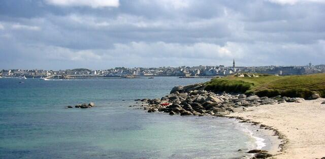 The Brittany town of Roscoff seen from the Ile de Batz