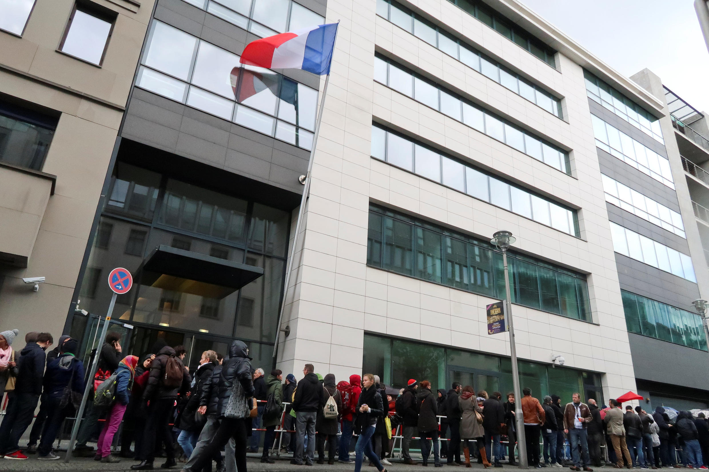 Hundreds of French expats queue in front of the consulate in Berlin, Germany April 23, 2017, to cast their vote in the first round of the presidential election in France