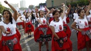 Des manifestantes lors de la journée de la femme, le 8 mars 2018, à Lima.