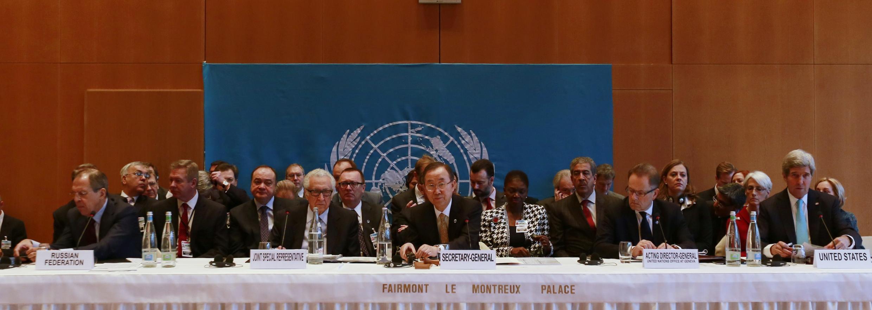 Ban Ki-moon lors de l'ouverture de la conférence de paix de Genève 2, à Montreux ce 22 janvier 2014.