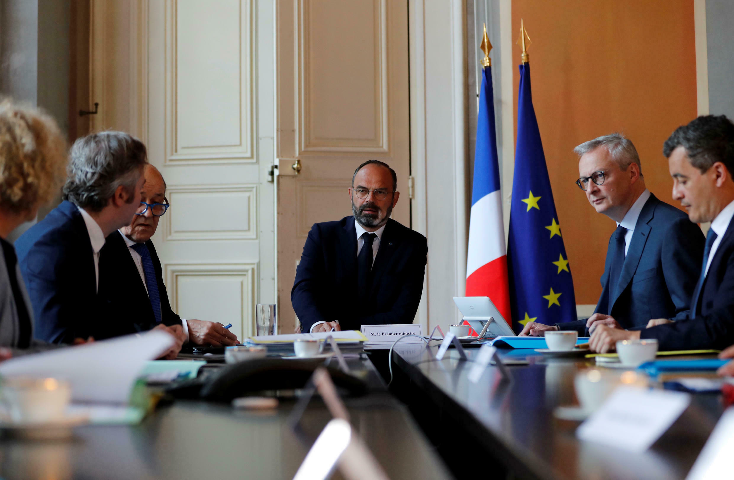 French Prime Minister Edouard Philippe (middle), with French Minister of Economy and Finance Bruno Le Maire during a video conference on 14 May, 2020.