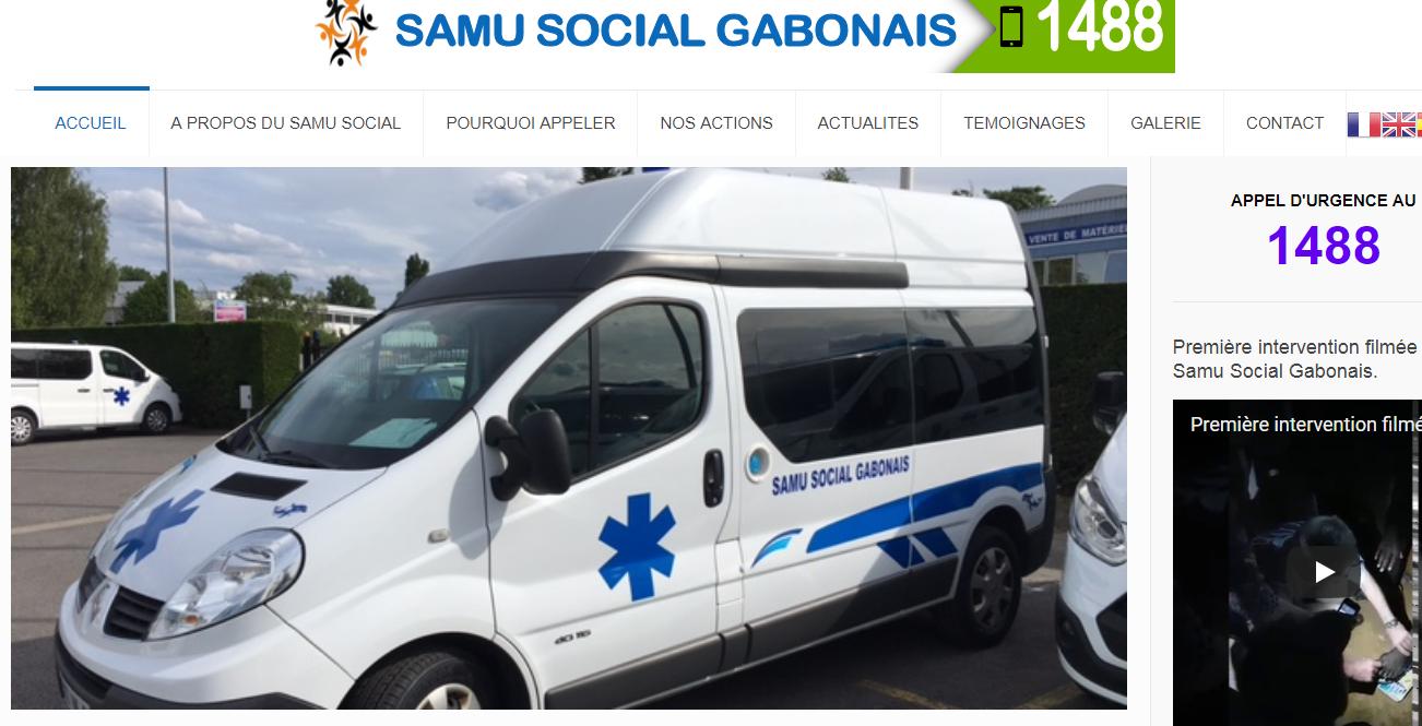 Capture d'écran de la page du site officiel du Samu Social au Gabon.