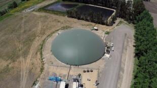 Foto aerea de una planta de biogas en Chile.