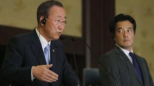 U.N. Secretary-General Ban Ki-moon and Japanese Foreign Minister Katsuya Okada attend a joint news conference in Tokyo