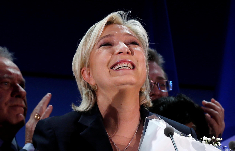 Marine Le Pen au soir du premier tour de la présidentielle, à Hénin-Beaumont, le 23 avril 2017.