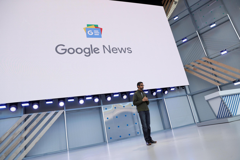 អគ្គនាយកប្រតិបត្តិរបស់Google លោក Sundar Pichai ធ្វើបទបង្ហាញក្នុងឱកាស Google I/O developers conference នៅ Mountain View រដ្ឋCalifornia ថ្ងៃទី៨ ឧសភា ២០១៨