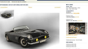 Capture d'écran du site de la maison de ventes Artcurial, avec une photo de la Ferrari «Spider California».